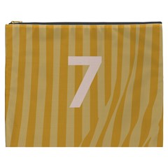 Number 7 Line Vertical Yellow Pink Orange Wave Chevron Cosmetic Bag (xxxl)  by Mariart