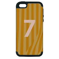 Number 7 Line Vertical Yellow Pink Orange Wave Chevron Apple Iphone 5 Hardshell Case (pc+silicone) by Mariart