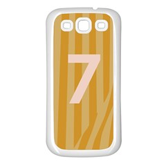 Number 7 Line Vertical Yellow Pink Orange Wave Chevron Samsung Galaxy S3 Back Case (white) by Mariart