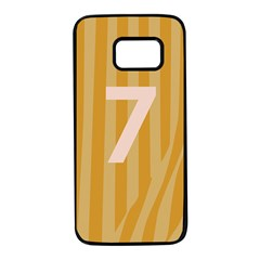 Number 7 Line Vertical Yellow Pink Orange Wave Chevron Samsung Galaxy S7 Black Seamless Case