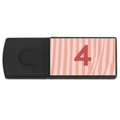 Number 4 Line Vertical Red Pink Wave Chevron Usb Flash Drive Rectangular (4 Gb) by Mariart