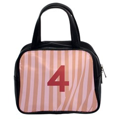 Number 4 Line Vertical Red Pink Wave Chevron Classic Handbags (2 Sides) by Mariart