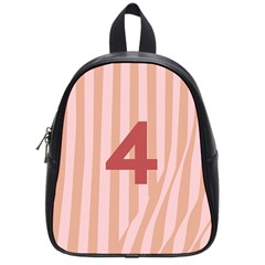 Number 4 Line Vertical Red Pink Wave Chevron School Bags (small)  by Mariart
