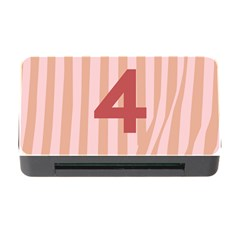 Number 4 Line Vertical Red Pink Wave Chevron Memory Card Reader With Cf by Mariart