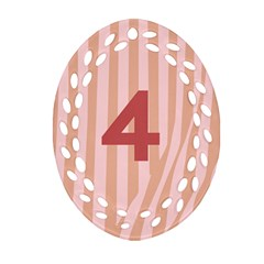 Number 4 Line Vertical Red Pink Wave Chevron Ornament (oval Filigree) by Mariart