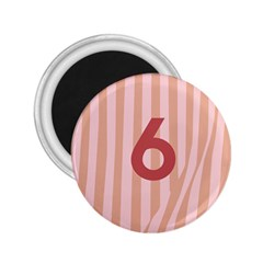 Number 6 Line Vertical Red Pink Wave Chevron 2 25  Magnets by Mariart