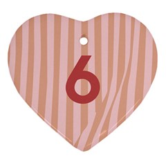Number 6 Line Vertical Red Pink Wave Chevron Ornament (heart) by Mariart