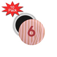 Number 6 Line Vertical Red Pink Wave Chevron 1 75  Magnets (10 Pack)  by Mariart