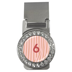 Number 6 Line Vertical Red Pink Wave Chevron Money Clips (cz)  by Mariart