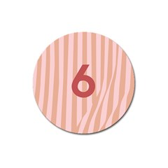 Number 6 Line Vertical Red Pink Wave Chevron Magnet 3  (round) by Mariart