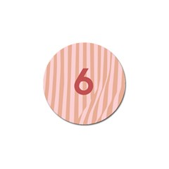 Number 6 Line Vertical Red Pink Wave Chevron Golf Ball Marker by Mariart