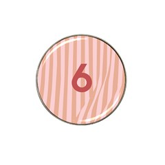 Number 6 Line Vertical Red Pink Wave Chevron Hat Clip Ball Marker by Mariart