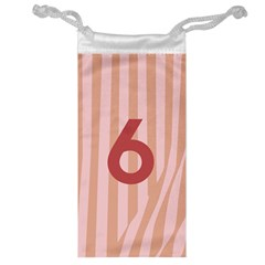 Number 6 Line Vertical Red Pink Wave Chevron Jewelry Bag by Mariart