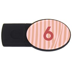 Number 6 Line Vertical Red Pink Wave Chevron Usb Flash Drive Oval (4 Gb) by Mariart