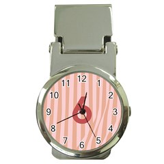 Number 6 Line Vertical Red Pink Wave Chevron Money Clip Watches by Mariart