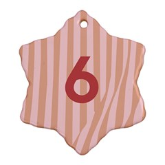Number 6 Line Vertical Red Pink Wave Chevron Snowflake Ornament (two Sides) by Mariart