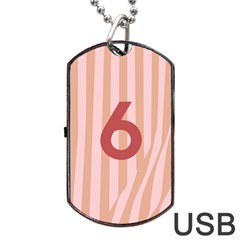 Number 6 Line Vertical Red Pink Wave Chevron Dog Tag Usb Flash (two Sides) by Mariart