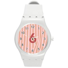 Number 6 Line Vertical Red Pink Wave Chevron Round Plastic Sport Watch (m) by Mariart