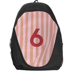 Number 6 Line Vertical Red Pink Wave Chevron Backpack Bag by Mariart