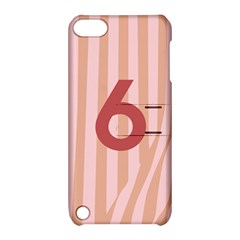 Number 6 Line Vertical Red Pink Wave Chevron Apple Ipod Touch 5 Hardshell Case With Stand by Mariart