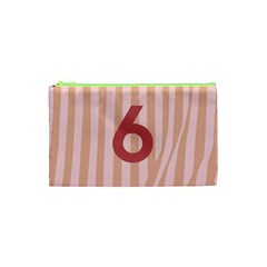 Number 6 Line Vertical Red Pink Wave Chevron Cosmetic Bag (xs) by Mariart