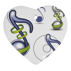 Notes Musical Elements Heart Ornament (two Sides) by Mariart
