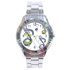 Notes Musical Elements Stainless Steel Analogue Watch by Mariart