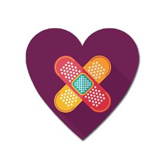 Plaster Scratch Sore Polka Line Purple Yellow Heart Magnet by Mariart