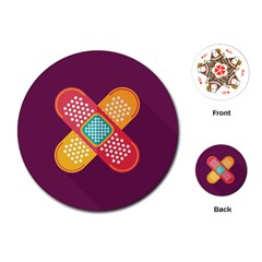 Plaster Scratch Sore Polka Line Purple Yellow Playing Cards (round)  by Mariart