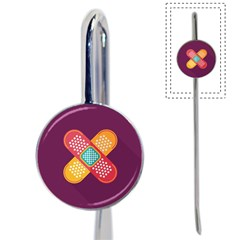 Plaster Scratch Sore Polka Line Purple Yellow Book Mark by Mariart