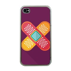 Plaster Scratch Sore Polka Line Purple Yellow Apple Iphone 4 Case (clear) by Mariart