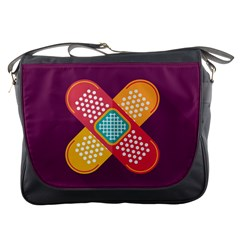 Plaster Scratch Sore Polka Line Purple Yellow Messenger Bags by Mariart