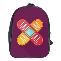Plaster Scratch Sore Polka Line Purple Yellow School Bags (xl)  by Mariart