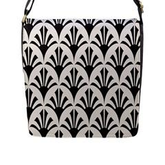 Parade Art Deco Style Neutral Vinyl Flap Messenger Bag (l)  by Mariart