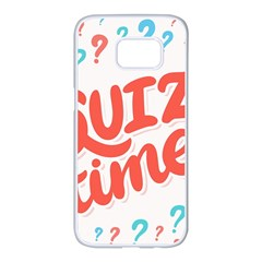 Question Mark Quiz Time Samsung Galaxy S7 Edge White Seamless Case by Mariart