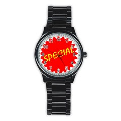 Special Sale Spot Red Yellow Polka Stainless Steel Round Watch by Mariart
