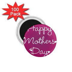 Valentine Happy Mothers Day Pink Heart Love 1 75  Magnets (100 Pack)  by Mariart