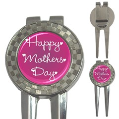 Valentine Happy Mothers Day Pink Heart Love 3 In 1 Golf Divots by Mariart