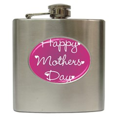 Valentine Happy Mothers Day Pink Heart Love Hip Flask (6 Oz) by Mariart