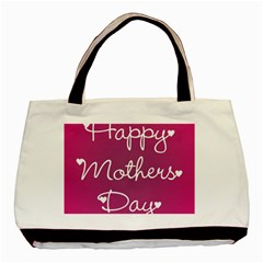 Valentine Happy Mothers Day Pink Heart Love Basic Tote Bag by Mariart
