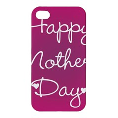 Valentine Happy Mothers Day Pink Heart Love Apple Iphone 4/4s Hardshell Case by Mariart