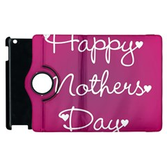 Valentine Happy Mothers Day Pink Heart Love Apple Ipad 3/4 Flip 360 Case by Mariart