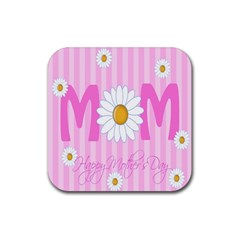Valentine Happy Mothers Day Pink Heart Love Sunflower Flower Rubber Square Coaster (4 Pack)  by Mariart