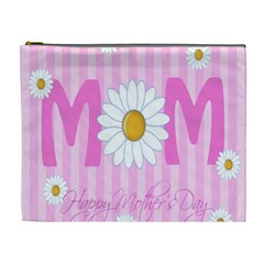 Valentine Happy Mothers Day Pink Heart Love Sunflower Flower Cosmetic Bag (xl) by Mariart
