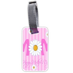 Valentine Happy Mothers Day Pink Heart Love Sunflower Flower Luggage Tags (one Side)  by Mariart