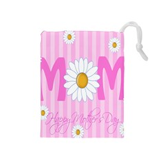 Valentine Happy Mothers Day Pink Heart Love Sunflower Flower Drawstring Pouches (medium)  by Mariart