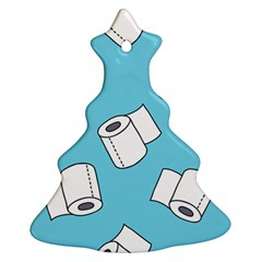 Roller Tissue White Blue Restroom Ornament (christmas Tree)  by Mariart