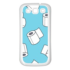 Roller Tissue White Blue Restroom Samsung Galaxy S3 Back Case (white) by Mariart