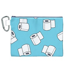 Roller Tissue White Blue Restroom Canvas Cosmetic Bag (xl) by Mariart
