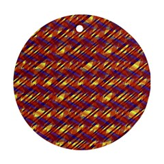 Linje Chevron Blue Yellow Brown Round Ornament (two Sides) by Mariart